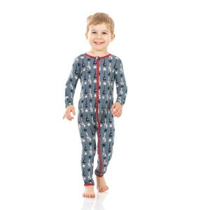KicKee Pants Slate Guitars and Stars Coverall with Zipper