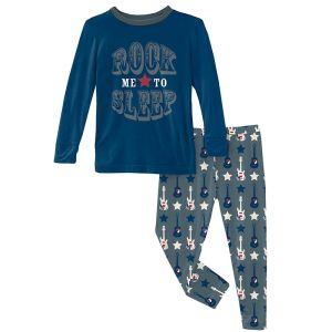 KicKee Pants Slate Guitars and Stars Long Sleeve Graphic Tee Pajama Set