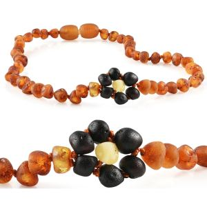 """Baltic Amber Necklace """"Grow With Me"""" Baby to Toddler - Raw Cognac Flower"""
