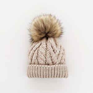 Huggalugs Pop Oatmeal Pom Pom Beanie Hat
