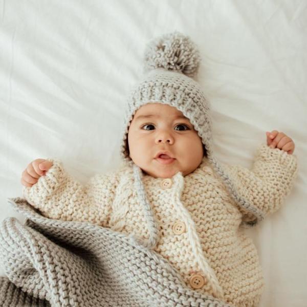 Light Grey Garter Stitch Knit Bonnet
