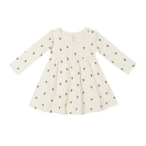 Quincy Mae Cactus Ivory Jersey Long Sleeve Dress