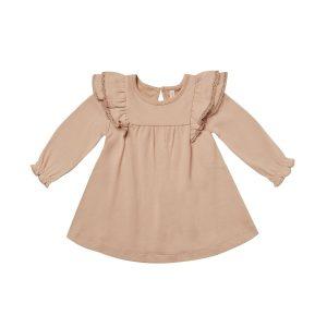 Quincy Mae Petal Long Sleeve Flutter Dress