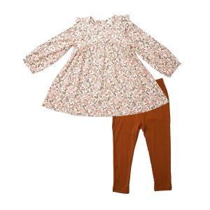 Angel Dear Vintage Calico Ruffle Shoulder Dress and Legging