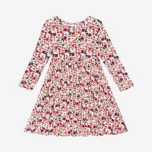 Posh Peanut Janie Long Sleeve Henley Twirl Dress