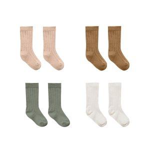 Quincy Mae Socks Set of 4 - Ivory, Basil, Petal, Walnut