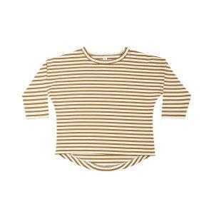 Quincy Mae Walnut Stripe Long Sleeve Tee