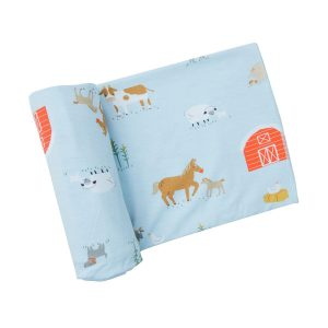 Angel Dear Farm Life Swaddle Blanket - Blue