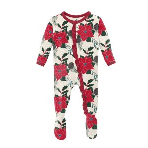 KicKee Pants Christmas Floral Print Classic Ruffle Footie with Zipper