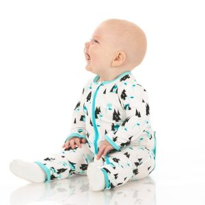 KicKee Pants Natural Chairlift Print Footie with Zipper