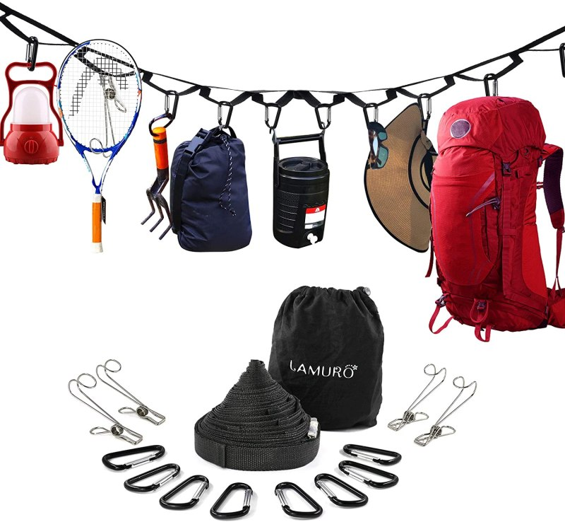 Campsite Storage Strap with 19 Separated Loops for Hanging Camping Equipment