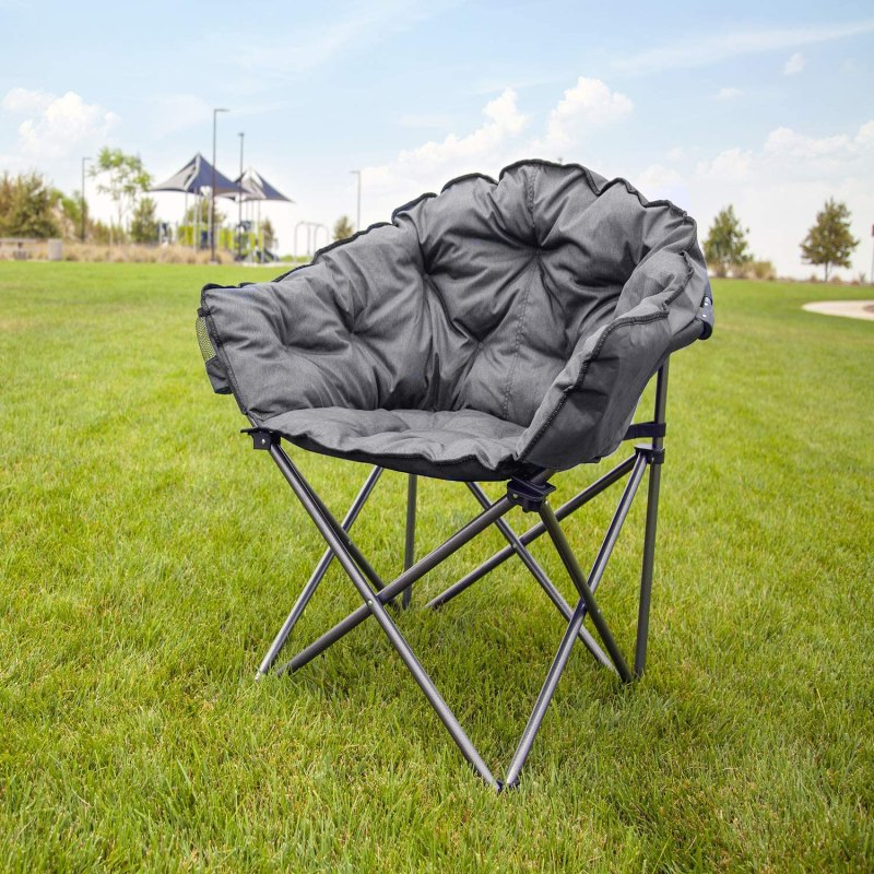 Padded Cushion Outdoor Folding Lounge Patio Club Chair