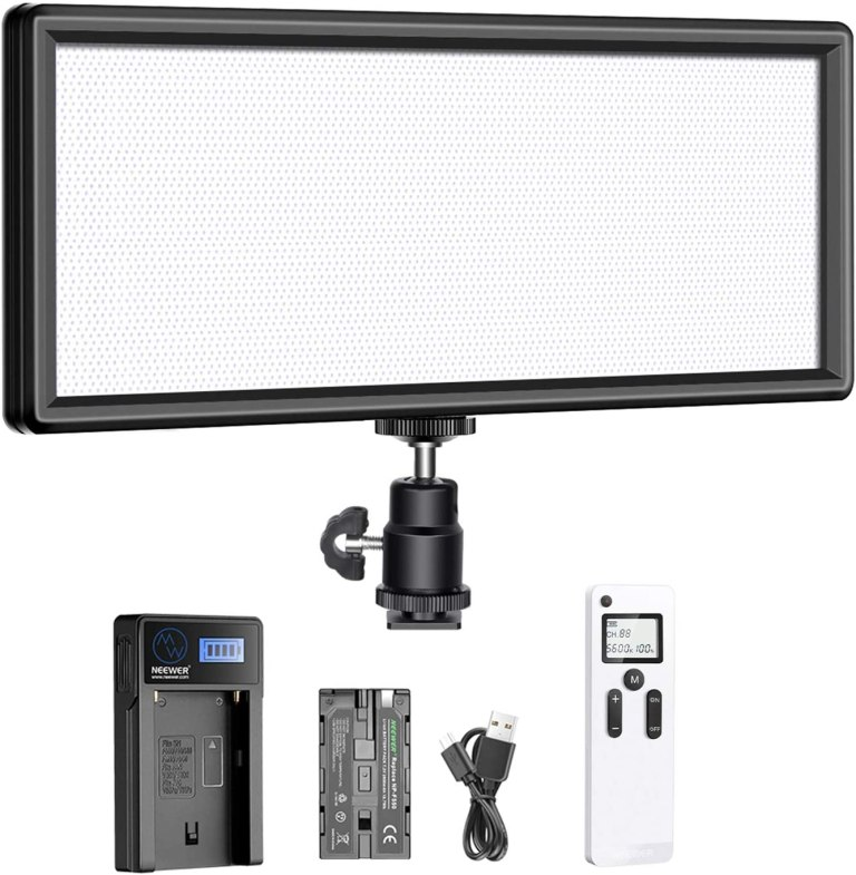 Neewer Super Slim 2.4G T120 on Camera LED Video Light Bi-color 3200-5600K Dimmable with LCD Display