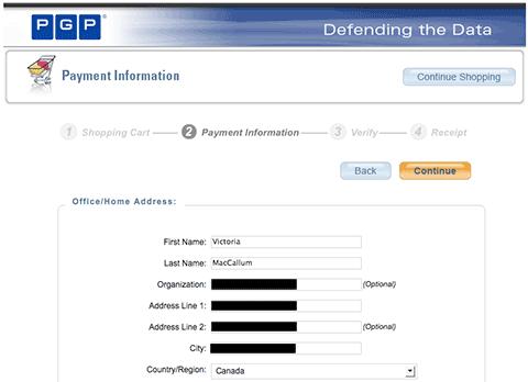 Screenshot showing masked PGP customer data
