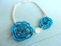 Ocean Teal Lace Rose with White Cats Eye Bead and Silver Plated Chain