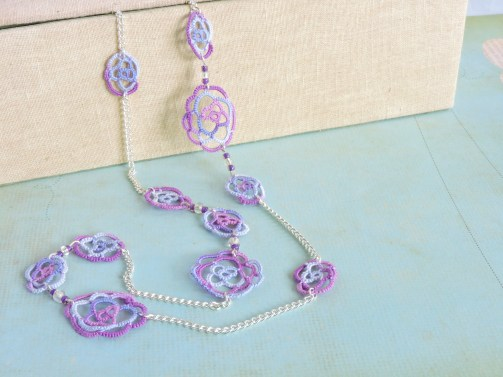 Lilac and Grape Lace Roses Long Multiway Necklace