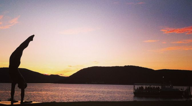 The Peekskill waterfront at sunset