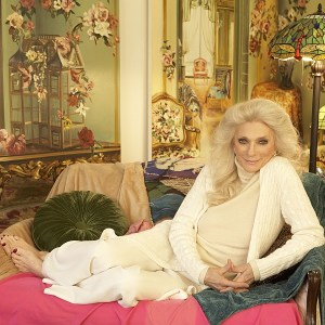 Judy Collins on a fancy couch
