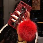 RhineStone Hand Strap Case With Fur Ball