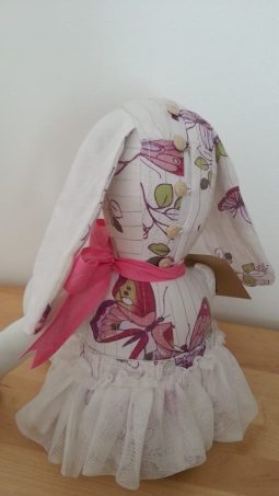 A Special birthday Keepsake rabbit made from a childhood dress ♥ © Peerie Critters 2014