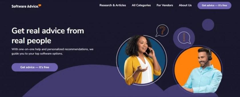 Screenshot of the Software Advice Homepage