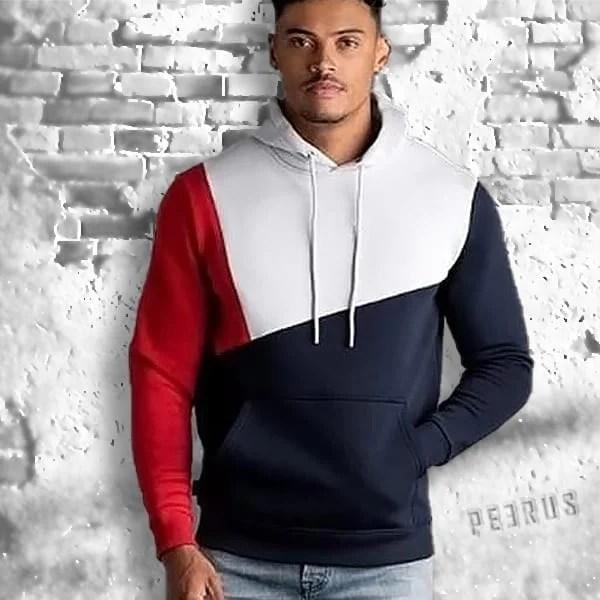 Men's streetwear patchwork style hooded sweatshirt