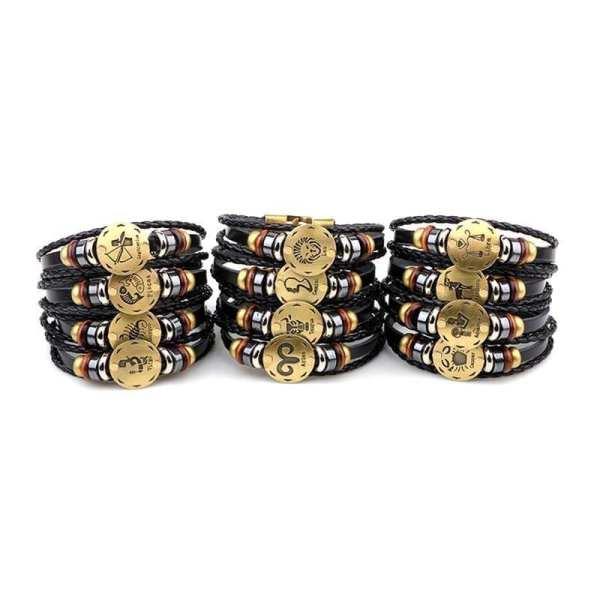 Vintage men's leather bracelet horoscope