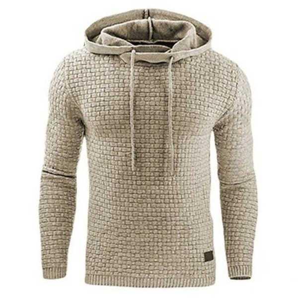 Sweat à capuche hoodie design plaid pour homme - Beige, 2XL - 175/190 cm pour 95/100 kg