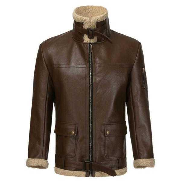 Manteau rétro doublure cachemire pour homme col montant doublé de laine