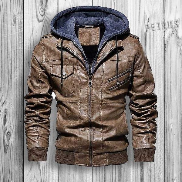 Blonson biker style hooded leather for men