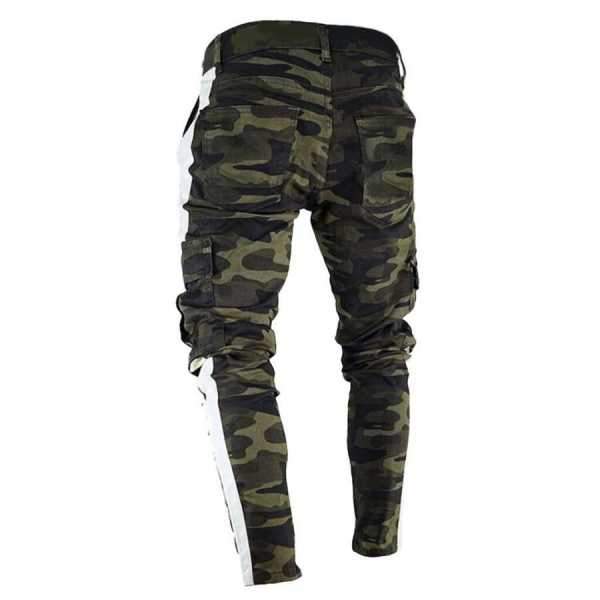 Cargo pants denim denim fitted camouflage style