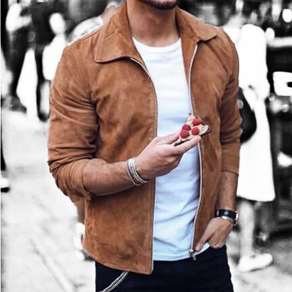 Casual Slim Light Col Rabattu Men's Jacket
