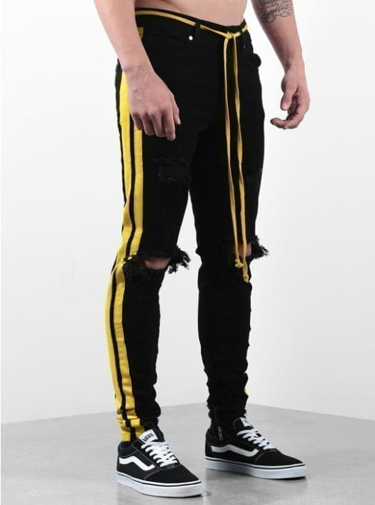 Black jeans streetwear style for men design stripes