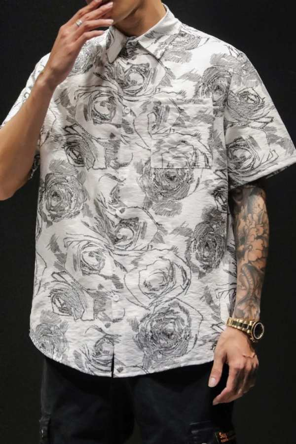 Casual men embroidered shirt