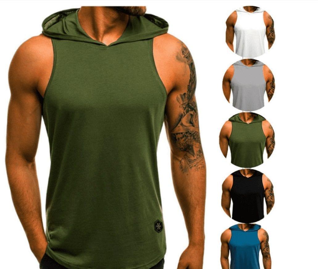 Camiseta sin mangas con capucha de gimnasio de ropa deportiva para hombre