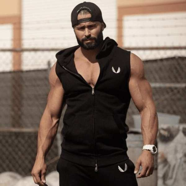 Sudadera sin mangas de fitness bordada por el hombre