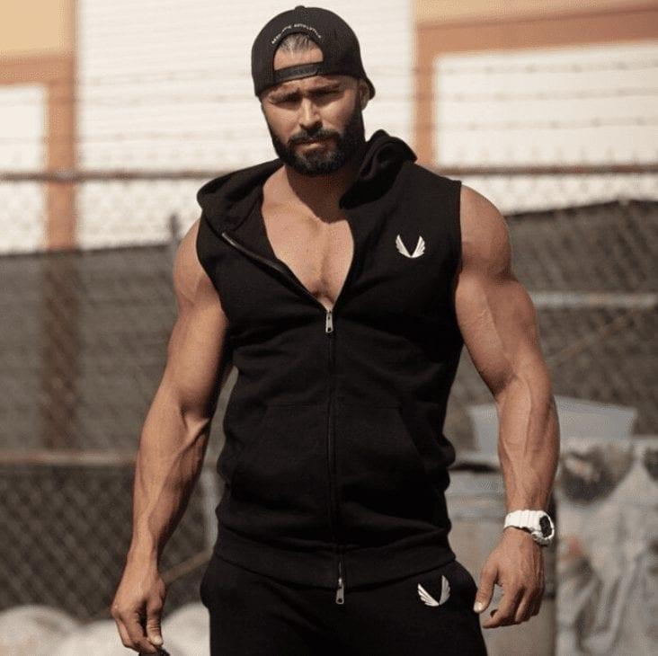 Man embroidered fitness sleeveless sweatshirt