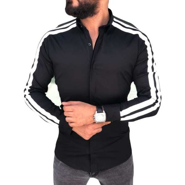 Chemise style cardigan manches longues homme
