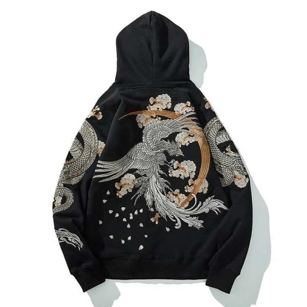 Embroidered Japanese streetwear style hooded sweatshirt