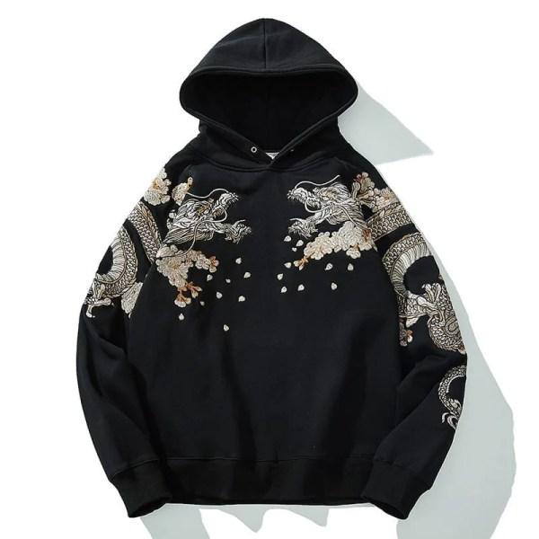 Sudadera con capucha estilo streetwear japonés bordada
