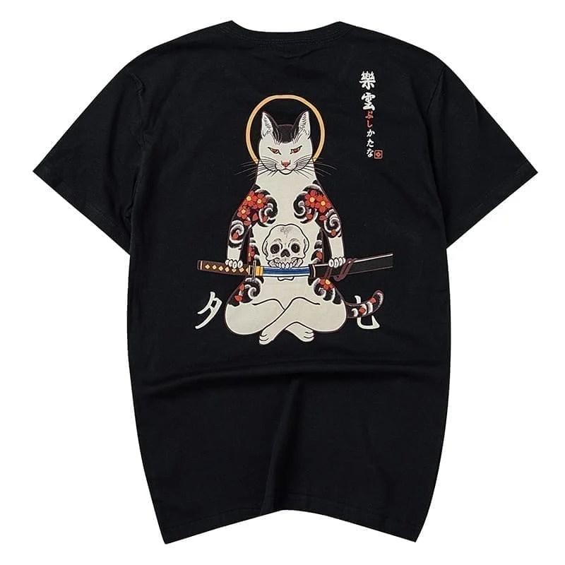 Ninja Assassin's Cat Print camiseta para hombres