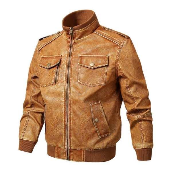 Plus-size men's PU leather jacket
