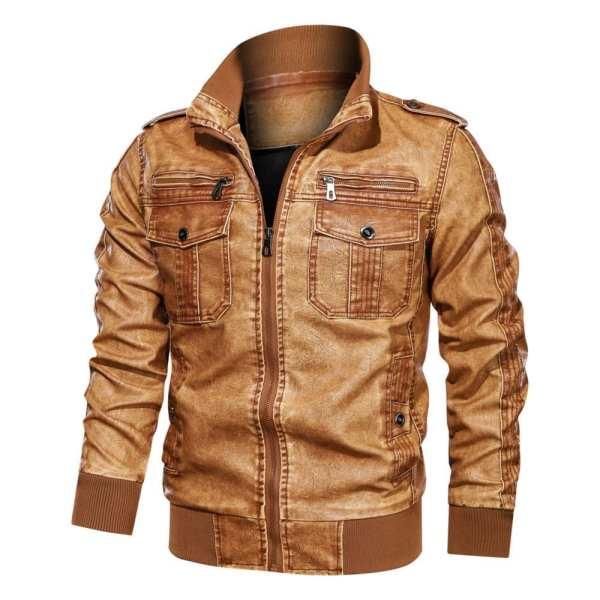 Men's hooded leather jacket