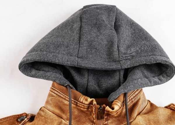 Veste en cuir à capuche pour homme