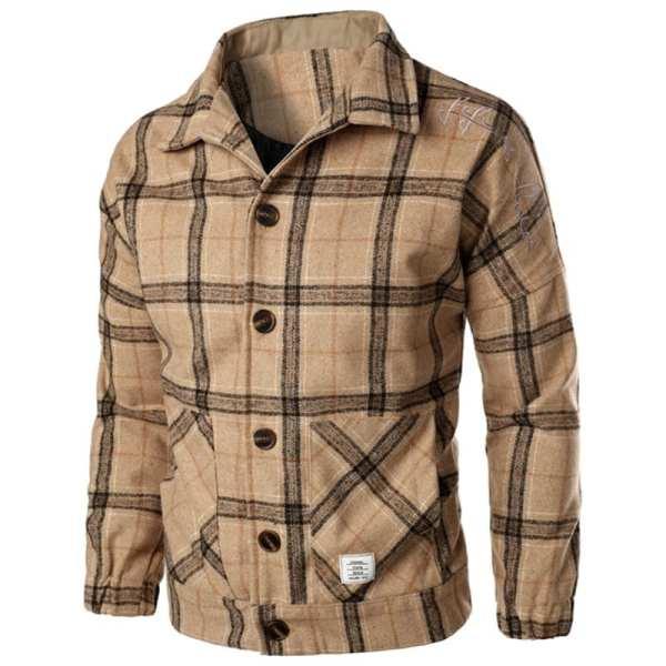 Veste en laine style rétro imprimé carreaux pour hommes