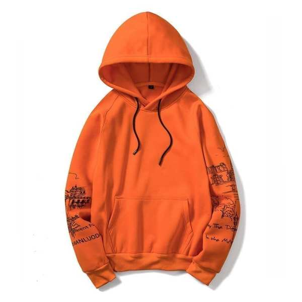 Original orange printed hoodie for men