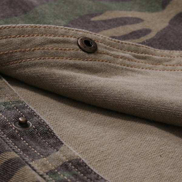 Jean denim shirt camouflage short sleeves men