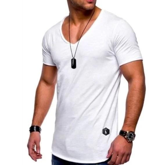 T-shirt manches courtes col v pour hommes