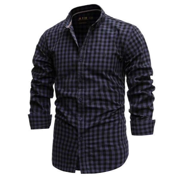 Camisa bordada de franela para hombre