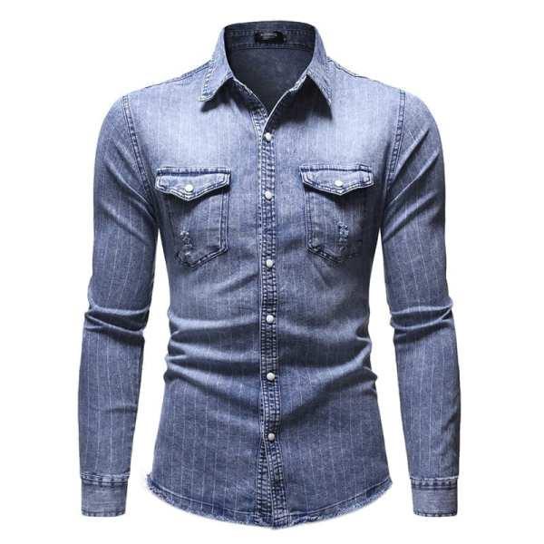 Camisa de mezclilla con rayas para hombre